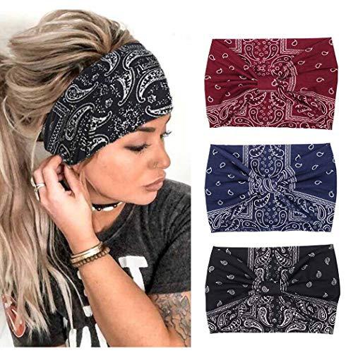 Zoestar Boho-Stirnband, breit, schwarz, Yoga, Laufen, Kopfwickel, stilvolle Vintage-Kopf-Schals, elastische Turban-Haarbänder für Frauen und Mädchen (3 Stück) (schwarz)