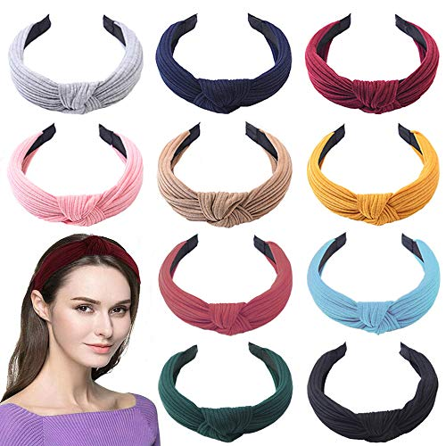 SUNPAT 10Pcs de Pelo Anchas Diadema de Nudo Bandas de Pelo Para la Cabeza Turbantes para Mujer Diadema Para Mujer Chica Niña Accesorio de Pelo 10 Colores Variados