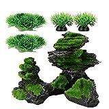 Smoothedo-Pets Decoraciones de pecera para acuario, tamaño mediano, 25,4 cm, accesorios para esconderes de pescado de musgo artificial (rockery-B con verde)