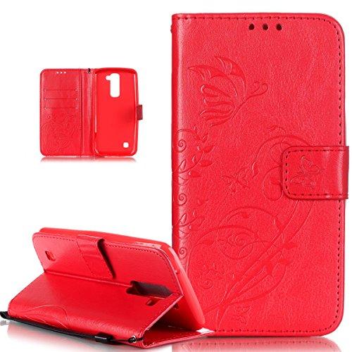 Kompatibel mit LG K10 Hülle,LG K10 Lederhülle,LG K10 Handyhülle,Schutzhülle LG K10 Prägung Blumen Reben Schmetterling PU Lederhülle Handyhülle Tasche Flip Wallet Ständer Schutzhülle für LG K10,Rot