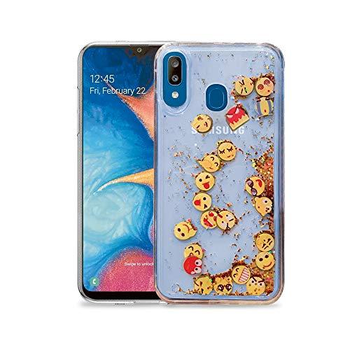 Case Dynamic Emoji Clear, Liquid Glitter Flowing Gold for Samsung Galaxy A20 / A30.