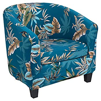 SearchI Stretch Club Chair Slipcover 2 Piece Soft Removable Printed Tub Chair Slipcover Non Slip Barrel Chair Slipcovers Tub Chair Slipcover for Living Room