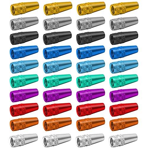 Tapones de válvula de Aleación de Aluminio,40 PCS Tapas de Válvula de Bicicleta Estilo Francés Tapones de Válvula para Motocicletas Camiones Bicicleta 10 Colores