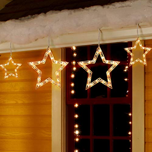 Christmas Window Lights 8.8 Feet 6 Drops Star Curtain string Lights 100 Mini White Bulbs Connectable Icicle Fairy Lights for Xmas Home Outdoor Indoor Party Decorations, Stackable Plug (Warm White)