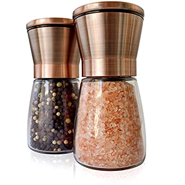Premium Salt & Pepper Grinder Set | Brushed Copper, 18/8 Stainless Steel Lids and Glass Shakers, Set of 2 | Grinder / Mill with Adjustable Coarseness | by Premium Home Quality (6oz)