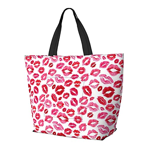 Love Lips - Bolso de hombro rojo multifuncional de gran capacidad, bolso de tableta, ligera, bolsa de trabajo, bolsa de viaje, bolsa de playa para mujer