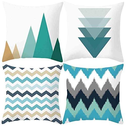 SUNNSEAN Funda de almohada clásica geométrica ondulada, decoración para el hogar, dormitorio, sofá, coche, 45 x 45 cm, multicolor, juego de 4 blanco sol (G) 45cm x 45cm