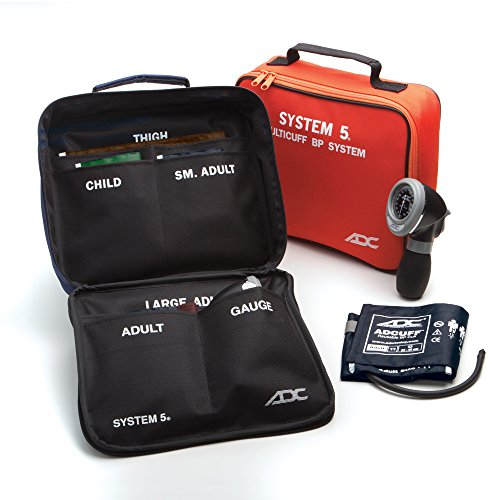 ADC Diagnostix System 5 (740-MCC), 5-Cuff EMT Kit, Professional Palm Aneroid Sphygmomanometer, Child, Small Adult, Adult, Large Adult, and Thigh BP Cuffs (13-66 cm), Black Zipper Storage Case, Multi-Color