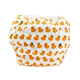 Zando Reusable Swim Diapers Adjustable for 8-30lbs Boys and Girls Stylish Fits Waterproof for Baby Showers & Swimming Lessons Yellow Duck One Size