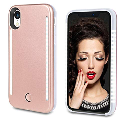 Vanjunn Selfie Illuminate Case for iPhone XR, LED Case with Rechargeable Back and Front Illuminated Luminous Case for iPhone XR (Rose Gold)