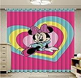 lubenwei Cortinas de Mickey Minnie para niños, Sala de Estar, Cortina de Dibujos Animados, Cortinas Opacas para Sala de Estar, Tratamiento de Ventanas 166(H) x75(W) Cmx2 Paneles/Set (B-2)