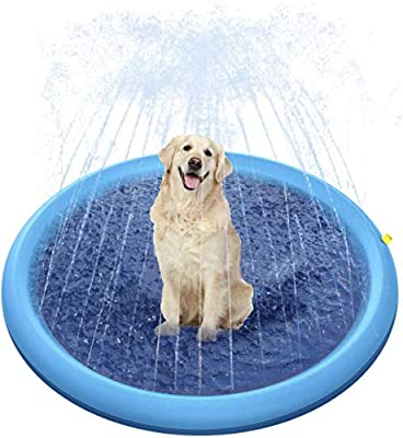 "Gerodaphin Splash Pad,66""Outdoor Sprinkler Play Mat Portable Inflatable Water Toy Anti-slip Summer Wading Pool for Dogs Pets Kids in Yard Garden Party"