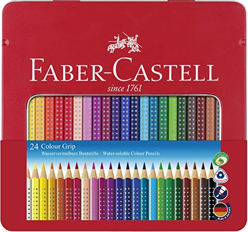 Faber-Castell F112423 112423 - Farbstift Colour Grip Blechetui 24er