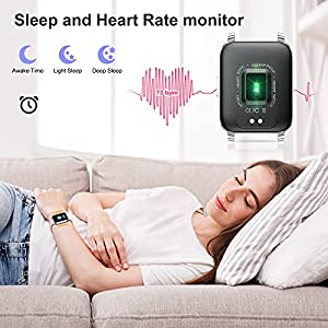 """Smart Watch, Fitness Tracker with Heart Rate Monitor, Activity Tracker with 1.69"""" Full Touch Screen, Waterproof Pedometer Smartwatch with Sleep Monitor, Step Counter for Women"""