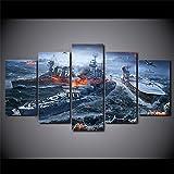 DSGER HD Art Cuadro De Pared 5 Partes Impresión Decoración Canvas Moderno Salón Decoración para Hogar Paisaje De Buques De Guerra