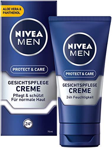 Nivea Men Protect & Care gezichtscrème in 3-delige verpakking (3 x 75 ml), rustgevende gezichtscrème voor mannen, hydraterende dagcrème