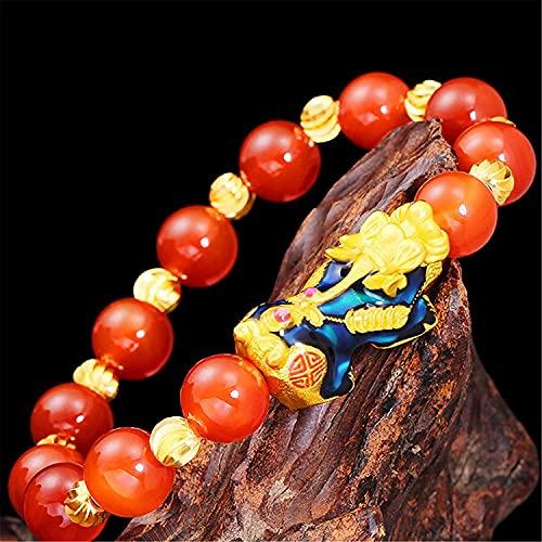 Gymqian Águila Roja Pulsera de Riqueza de la Riqueza Cambio de Color Pixiu/Piyao Feng Shui Amuleto Pulsera Prosperidad Atraer un Brazalete de Regalo de Dinero Lucky para Mujeres/Niñas M