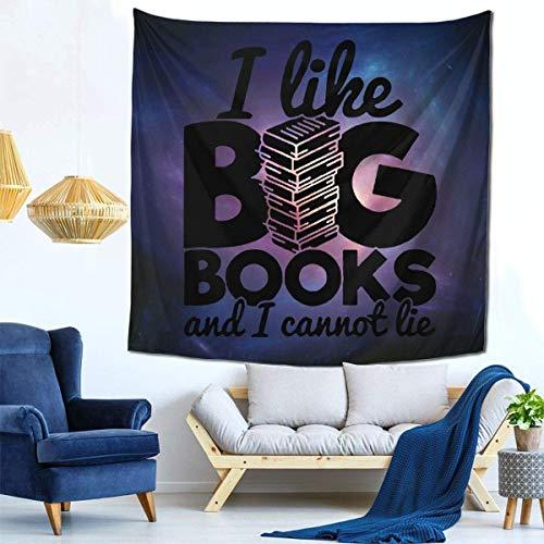 Lawenp Me Gustan los Libros Grandes y no Puedo mentir Tapiz Dormitorio Sala de Estar Dormitorio, Cortina de Ventana Alfombra de Picnic 59x59 Pulgadas Tapiz Colgante de Pared