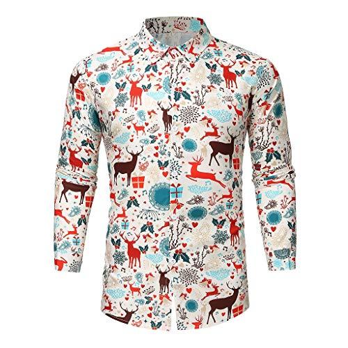 KPPONG Homme Chemise Noël 3D Moche Fantaisie Funky Christmas Shirt Manches Longues Button Slim Fit Casual Shirt Automne Hiver Pas Cher Chemises