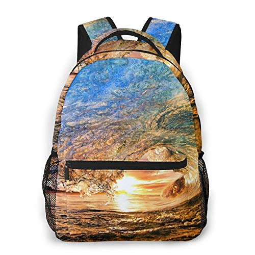 Best Ocean Wave Print Fashion Casual Backpack, For Commuter, Business, School, Casual Daypacks