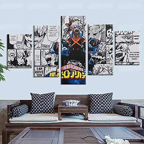 BHJIO Cuadro sobre Lienzo - 5 Piezas Mi Héroe Academia - Cuadro De Pintura Póster De Arte Moderno Oficina Sala De Estar O Dormitorio Decoración del Hogar Arte De Pared 80X150Cm