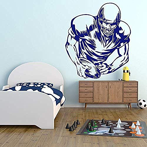 Etiqueta de la pared Fútbol Jugador Boceto Deportes Americanos Etiqueta de la pared Gimnasio Home Art Decals 62X72Cm