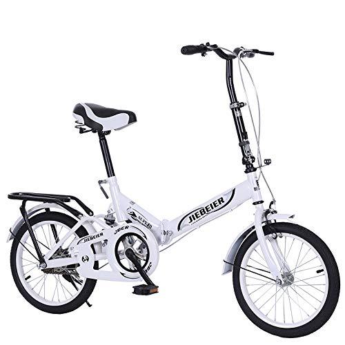 Shenye 20 Zoll Faltrad, Damenrad, Klapprad Fahrrad, Folding Citybike mit Ständer Gepäckträger, Damenfahrrad, Geschenkauto Bicycle, Studentenfahrrad (Weiß)