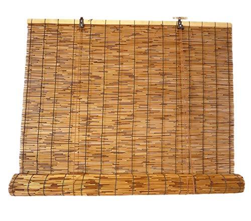 JIAJUTUI001 Cortina de Caña Cortina de Bambú para Puerta Persianas Enrollables Persianas de Bambu Exterior Retro para la Decoración de Particiones DoméSticas(130×300cm/51×118in)