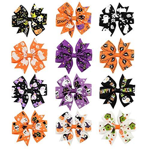 Sipliv 12pcs clips de pelo de halloween bowknot horquilla accesorios para el cabello con pinzas de cocodrilo para bebés niñas niños pequeños