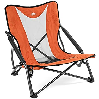 Cascade Mountain Tech Compact Low Profile Outdoor Folding Camp Chair Carry Case - Orange