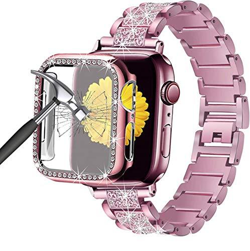 Pulsera brazalete de joyería para Apple Watch SE 6 Band 44mm 40mm Bling Case Protector de pantalla de vidrio templado Correa para Applewatch 3