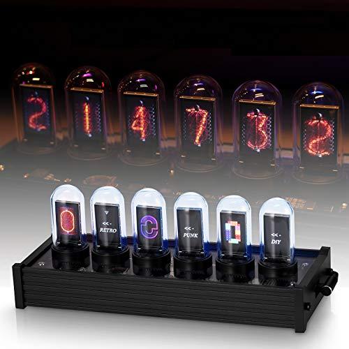 TZUTOGETHER Nixie Tube Clock, Digitaluhr, Nixie Röhren Uhr mit DIY Customized Photo Display, 20 Modus, Kalender, LED Nixie Uhr, LED Glow Tube Clock, Retro Vintage Uhr, USB TypC