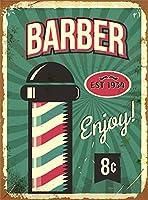 なまけ者雑貨屋 アメリカン 雑貨 ナンバープレート [Barber Enjoy!] ヴィンテージ風 ライセンスプレート メタルプレート ブリキ 看板 アンティーク レトロ