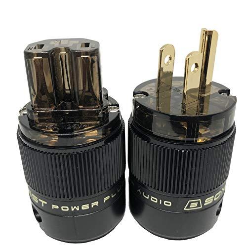 SonarQuest Standard Edition 24K Gold Plated US Power Plug & IEC Connector Set AC Power for HiFi Audio (SE-GP+GC(D))