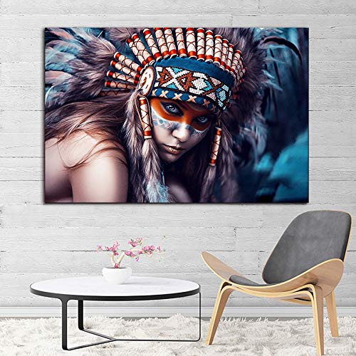 mlpnko Indian girl DIY Oil Painting, Paint by Numbers Kits for Adults40x60cmFrameless painting