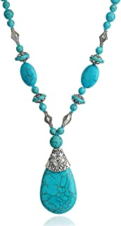 Prime Amazon Day Deals Sale 2019-Boho Turquoise Long Beaded Necklace for Women Vintage Ethnic Alloy Pendant Jewelry