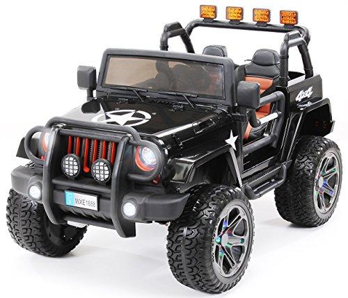 Actionbikes Motors - Auto elettrica per bambini Jeep Wrangler Offroad - 4x4 a trazione integrale - motore 4 x 35 Watt - 2 posti - telecomando - RC - da 3 anni (Nera)
