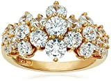 Best HSG Wedding Rings - Yellow-Gold-Plated Sterling Silver Cluster Ring set with Round Review