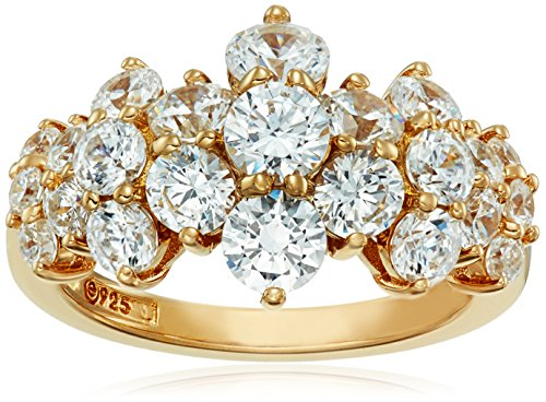 Yellow-Gold-Plated Sterling Silver Cluster Ring set with Round Cut Swarovski Zirconia (1.5 cttw), Size 9