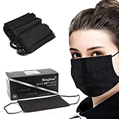 【50pcs Black Disposable Mask】You will get 50 Pcs Disposable 3 Ply Safety Face Mask, Simple and cool style, fashionable and versatile, Can match all kinds of clothes, It's enough to meet the needs of your Parent/ child family/staff/friends. 【3 Layers ...