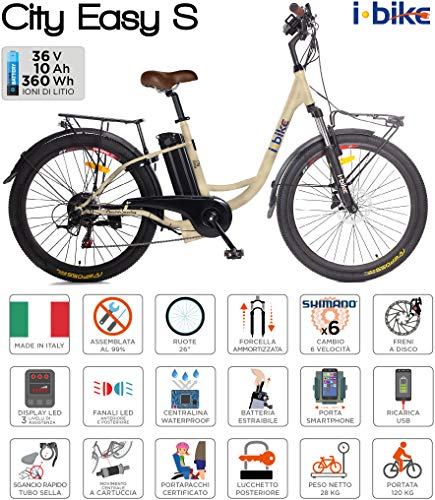 i-Bike City Easy S ITA99, Bicicletta elettrica a pedalata assistita Unisex Adulto, Crema, 46 cm
