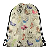 OPLKJ Kordelzug Rucksack Sporttasche Große Kapazität Leichte Freizeittaschen für Damen Herren Schuhe mit hohen Absätzen als Bild Eine Größe