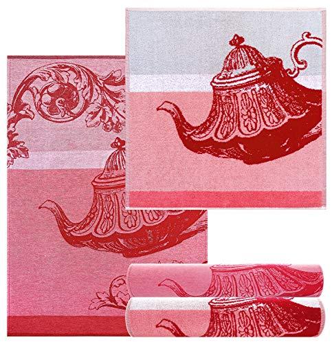 Lashuma 4 Stück Trockentücher Motiv: Teekanne, kleine Handtücher Farbe: Rot, 2X Küchentücher 50x70-2X Frotteehandtücher 50x50