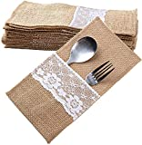 20 Stück Jute Bestecktaschen Besteckbeutel Besteckhalter Sackleinen mit Spitze Messer und Gabeln Besteck Set Hochzeit Vintage Deko Tischdeko für Party...