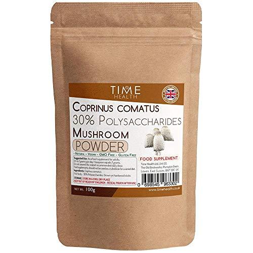 Coprinus Comatus Mushroom Extract Powder – 30% Polysaccharides - Fruit Body (100g Powder Pouch)