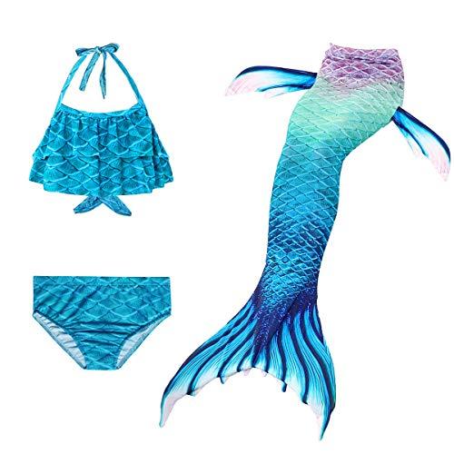 PaisDola Kindermeisjes zeemeermin zwemkostuum inbegrepen 3pcs Swimmable Bikini-badpak