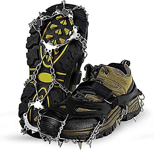 SYKJ Tipo de Correa crampones-Multi-Función Antideslizante crampones Grip Piqueta Cordones de los Zapatos de Hielo y la Nieve con 18 Puntos, para los Hombres de Las Mujeres (sin Zapatos),XL