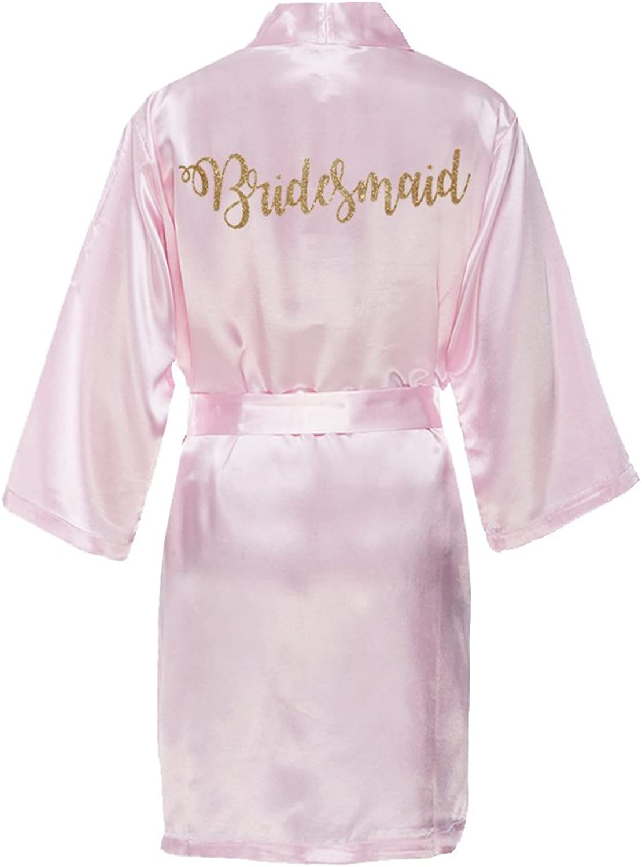 Classy Bride Bridesmaid Satin Kimono Robe with gold Glitter