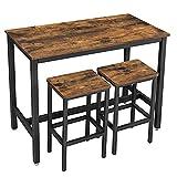 VASAGLE Bar Table Set, Bar Table with 2 Bar Stools, Dining table set, Kitchen Counter with Bar...