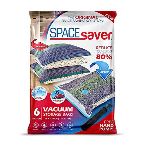 SpaceSaver Premium Vakuum Aufbewahrungsbeutel. 80% mehr Speicher! Handpumpe für unterwegs! Double-Zip Seal und Triple-Seal Turbo-Ventil für maximale Platzersparnis! (Medium 6 Pack)